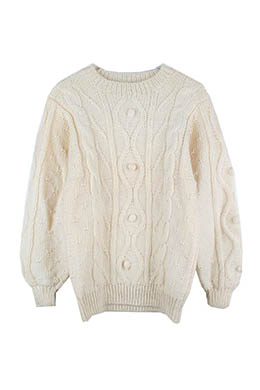 CABLE POM-POM SWEATER
