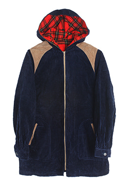 CORDUROY HOODED ZIP-UP