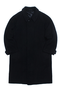BLACK HIDDEN BUTTONED COAT [CASHMERE BLEND]
