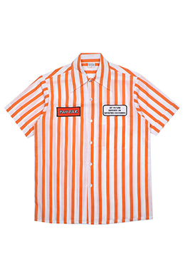 ORANGE STRIPED HALF-SHIRT