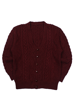 BURGUNDY CABLE CARDIGAN